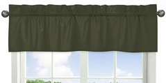 Dark Green Window Treatment Valance by Sweet Jojo Designs - Solid Color Hunter Forest Olive for Rustic Woodland Camo Deer Collection
