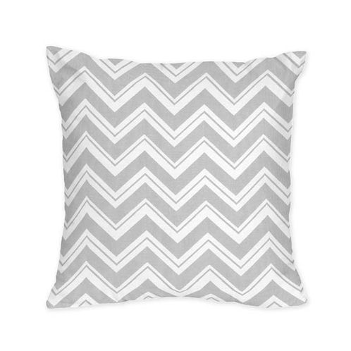 Decorative Accent Throw Pillow for Yellow and Grey Chevron Zig Zag Bedding Collection by Sweet Jojo Designs - Click to enlarge