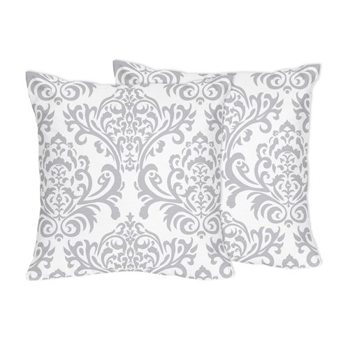 Decorative Accent Throw Pillows for Damask Bedding Sets by Sweet Jojo Designs - Set of 2 - Click to enlarge