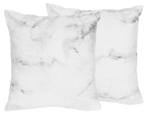 Decorative Accent Throw Pillows for Grey, Black and White Marble Bedding Sets by Sweet Jojo Designs - Set of 2 - Click to enlarge