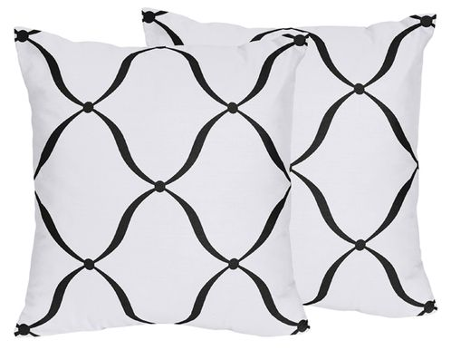 Decorative Accent Throw Pillows for Purple, Black and White Princess Collection - Set of 2 - Click to enlarge