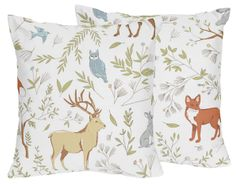 Decorative Accent Throw Pillows for Woodland Animal Toile Bedding Sets by Sweet Jojo Designs - Set of 2