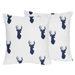 Decorative Accent Throw Pillows for Navy and White Woodland Deer Bedding Sets by Sweet Jojo Designs - Set of 2