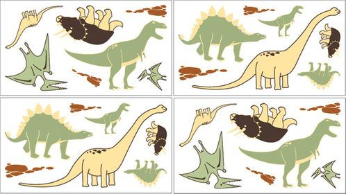Dinosaur Baby and Kids Wall Decal Stickers - Set of 4 Sheets - Click to enlarge