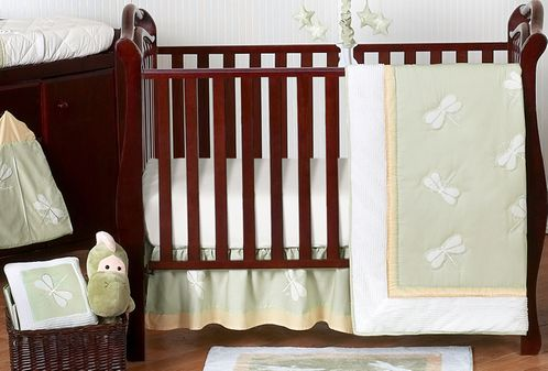 Dragonfly Dreams Green Baby Bedding - 11pc Crib Set - Click to enlarge