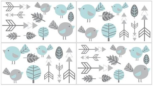 Earth and Sky Peel and Stick Wall Decal Stickers Art Nursery Decor by Sweet Jojo Designs - Set of 4 Sheets - Click to enlarge