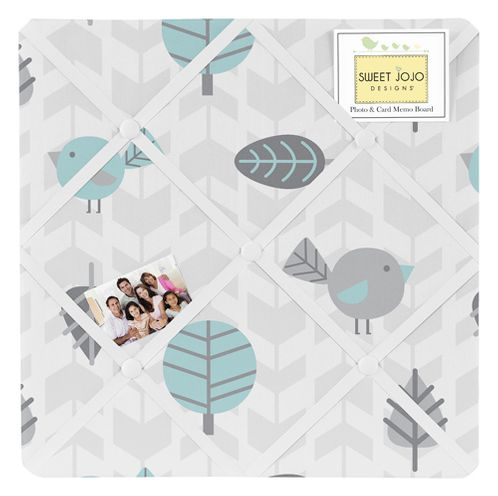 Earth and Sky Bird Print Fabric Memory/Memo Photo Bulletin Board by Sweet Jojo Designs - Click to enlarge