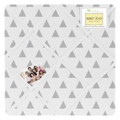 Earth and Sky Triangle Print Fabric Memory/Memo Photo Bulletin Board by Sweet Jojo Designs
