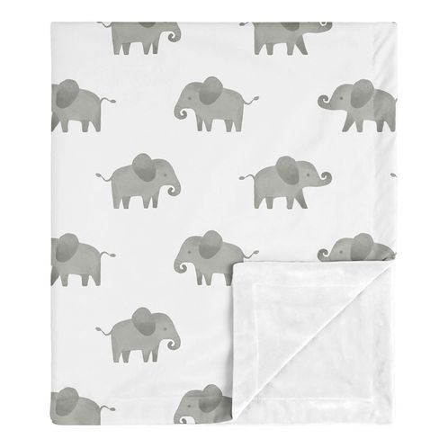 Elephant Baby Boy or Girl Receiving Security Swaddle Blanket for Newborn or Toddler Nursery Car Seat Stroller Soft Minky by Sweet Jojo Designs - Gray and White Watercolor Safari Grey - Click to enlarge