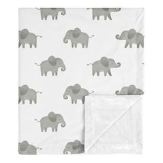 Elephant Baby Boy or Girl Receiving Security Swaddle Blanket for Newborn or Toddler Nursery Car Seat Stroller Soft Minky by Sweet Jojo Designs - Gray and White Watercolor Safari Grey