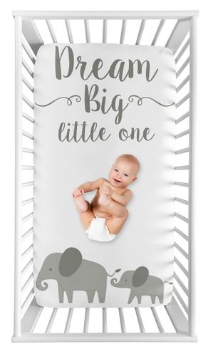 Elephant Boy or Girl Fitted Crib Sheet Baby or Toddler Bed Nursery Photo Op by Sweet Jojo Designs - Grey and White Watercolor Jungle Safari - Click to enlarge