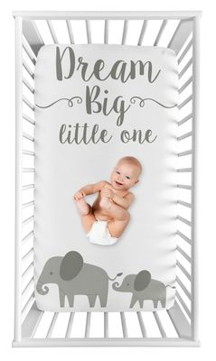Elephant Boy or Girl Fitted Crib Sheet Baby or Toddler Bed Nursery Photo Op by Sweet Jojo Designs - Grey and White Watercolor Jungle Safari