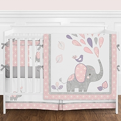 Elephant Safari Baby Girl Nursery Crib Bedding Set with Bumper by Sweet Jojo Designs - 9 pieces - Lavender Purple, Blush Pink, Grey and White Modern Gray Jungle