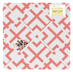 Fabric Memory/Memo Photo Bulletin Board for Coral and White Diamond Collection - Diamond Print