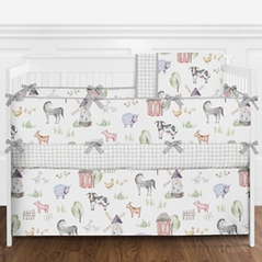 Farm Animal Baby Boy or Girl Nursery Crib Bedding Set with Bumper by Sweet Jojo Designs - 9 pieces - Gender Neutral Rustic Farmhouse Horse Cow Sheep Pig Red Blue Yellow Green Grey and White