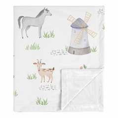 Farm Animals Baby Boy Girl Receiving Security Swaddle Blanket for Newborn or Toddler Nursery Car Seat Stroller Soft Minky by Sweet Jojo Designs - Watercolor Farmhouse Horse Cow Sheep Pig