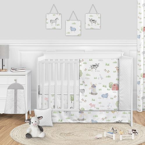 Farm Animals Baby Boy or Girl Nursery Crib Bedding Set without Bumper by Sweet Jojo Designs - 11 pieces - Watercolor Farmhouse Lattice Horse Cow Sheep Pig - Click to enlarge