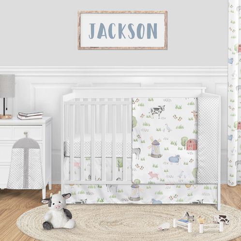 Farm Animals Baby Boy or Girl Nursery Crib Bedding Set without Bumper by Sweet Jojo Designs - 4 pieces - Watercolor Farmhouse Lattice Horse Cow Sheep Pig - Click to enlarge