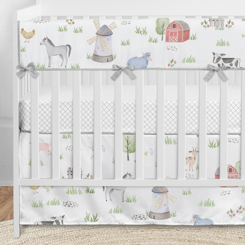 Sweet Jojo Designs Farm Animals Boy or Girl Fitted Crib Sheet Baby or Toddler Bed Nursery Watercolor Farmhouse Horse Cow Sheep Pig
