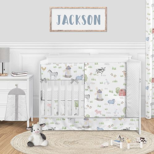Farm Animals Baby Boy or Girl Nursery Crib Bedding Set without Bumper by Sweet Jojo Designs - 5 pieces - Watercolor Farmhouse Lattice Horse Cow Sheep Pig - Click to enlarge
