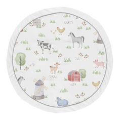 Farm Animals Boy Girl Baby Playmat Tummy Time Infant Play Mat by Sweet Jojo Designs - Watercolor Farmhouse Horse Cow Sheep Pig