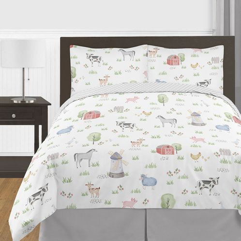 Farm Animals Boy Girl Full / Queen Size Kid Childrens Bedding Comforter Set by Sweet Jojo Designs - 3 pieces - Watercolor Farmhouse Lattice Horse Cow Sheep Pig - Click to enlarge