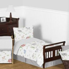 Farm Animals Boy Girl Toddler Kid Childrens Comforter Bedding Set by Sweet Jojo Designs - 5 pieces Comforter, Sham and Sheets - Watercolor Farmhouse Lattice Horse Cow Sheep Pig