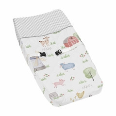 Farm Animals Boy or Girl Baby Nursery Changing Pad Cover by Sweet Jojo Designs - Watercolor Farmhouse Lattice Horse Cow Sheep Pig