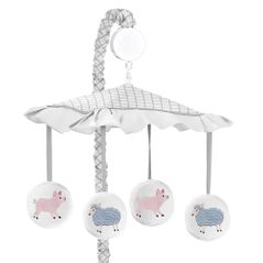 Farm Animals Boy or Girl Baby Nursery Musical Crib Mobile by Sweet Jojo Designs - Watercolor Farmhouse Lattice Sheep Pig