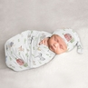 Farm Animals Boy or Girl Cocoon and Beanie Hat Set Jersey Stretch Knit Sleeping Bag for Infant Newborn Nursery Sleep Wrap Sack by Sweet Jojo Designs - Watercolor Farmhouse Horse Cow Sheep Pig Gender Neutral