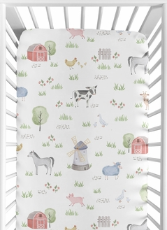 Farm Animals Boy or Girl Fitted Crib Sheet Baby or Toddler Bed Nursery by Sweet Jojo Designs - Watercolor Farmhouse Horse Cow Sheep Pig