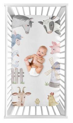 Farm Animals Boy or Girl Fitted Crib Sheet Baby or Toddler Bed Nursery Photo Op by Sweet Jojo Designs - Watercolor Farmhouse Horse Cow Sheep Pig