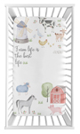 Farm Animals Boy or Girl Fitted Crib Sheet Baby or Toddler Bed Nursery Photo Op by Sweet Jojo Designs - Watercolor Farmhouse Horse Cow Sheep Pig Farm Life