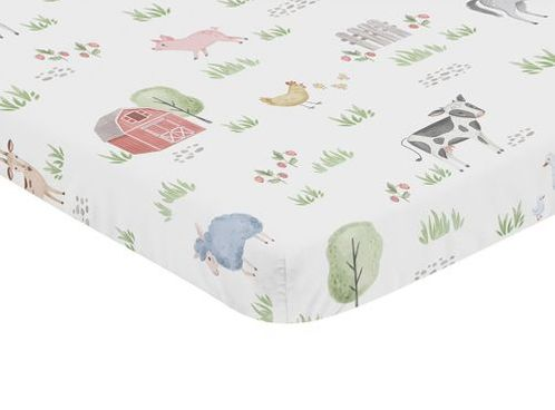 Farm Animals Boy or Girl Fitted Mini Crib Sheet Baby Nursery by Sweet Jojo Designs For Portable Crib or Pack and Play - Watercolor Farmhouse Horse Cow Sheep Pig - Click to enlarge