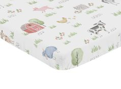 Farm Animals Boy or Girl Fitted Mini Crib Sheet Baby Nursery by Sweet Jojo Designs For Portable Crib or Pack and Play - Watercolor Farmhouse Horse Cow Sheep Pig