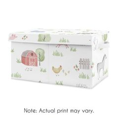 Farm Animals Boy or Girl Small Fabric Toy Bin Storage Box Chest For Baby Nursery or Kids Room by Sweet Jojo Designs - Watercolor Farmhouse Horse Cow Sheep Pig