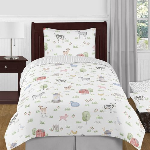 Farm Animals Boy or Girl Twin Size Kid Childrens Bedding Comforter Set by Sweet Jojo Designs - 4 pieces - Watercolor Farmhouse Lattice Horse Cow Sheep Pig - Click to enlarge