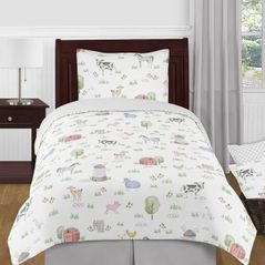 Farm Animals Boy or Girl Twin Size Kid Childrens Bedding Comforter Set by Sweet Jojo Designs - 4 pieces - Watercolor Farmhouse Lattice Horse Cow Sheep Pig