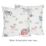 Farm Animals Decorative Accent Throw Pillows by Sweet Jojo Designs - Set of 2 - Watercolor Farmhouse Horse Cow Sheep Pig