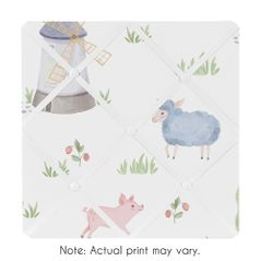 Farm Animals Fabric Memory Memo Photo Bulletin Board by Sweet Jojo Designs - Watercolor Farmhouse Horse Cow Sheep Pig