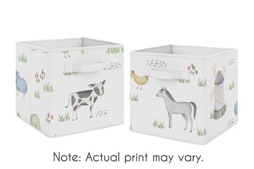 Farm Animals Foldable Fabric Storage Cube Bins Boxes Organizer Toys Kids Baby Childrens by Sweet Jojo Designs - Set of 2 - Watercolor Farmhouse Horse Cow Sheep Pig - Click to enlarge