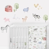 Farm Animals Large Peel and Stick Wall Decal Stickers Art Nursery Decor Mural by Sweet Jojo Designs - Set of 4 Sheets - Watercolor Farmhouse Barn Horse Cow Sheep Pig Chicken Sheep Goat Barnyard