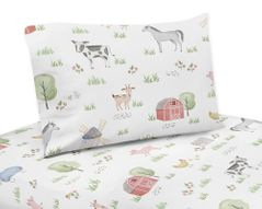 Farm Animals Twin Sheet Set by Sweet Jojo Designs - 3 piece set - Watercolor Farmhouse Horse Cow Sheep Pig