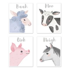 Farm Animals Wall Art Prints Room Decor for Baby, Nursery, and Kids by Sweet Jojo Designs - Set of 4 - Watercolor Farmhouse Horse Cow Sheep Pig