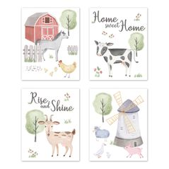 Farm Animals Wall Art Prints Room Decor for Baby, Nursery, and Kids by Sweet Jojo Designs - Set of 4 - Watercolor Farmhouse Horse Cow Sheep Pig Home Sweet Home
