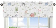 Farm Animals Window Treatment Valance by Sweet Jojo Designs - Watercolor Farmhouse Horse Cow Sheep Pig