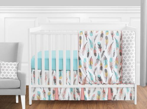 Feather Baby Bedding - 11pc Girls Crib Set by Sweet Jojo Designs - Click to enlarge