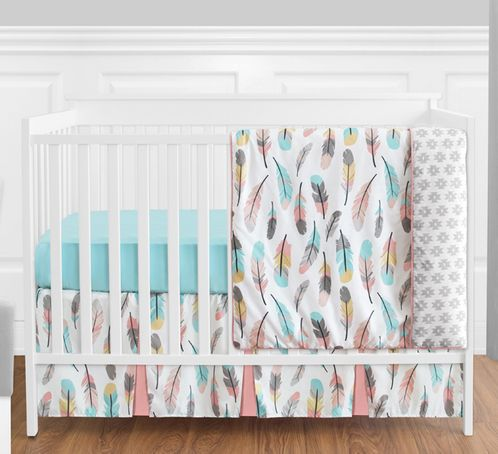 Feather Baby Bedding - 4pc Girls Crib Set by Sweet Jojo Designs - Click to enlarge