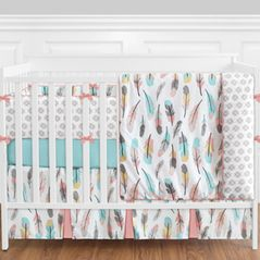 Feather Baby Bedding - 9 Piece Girls Crib Set by Sweet Jojo Designs