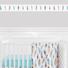Feather Collection Kids and Baby Modern Wall Paper Border by Sweet Jojo Designs